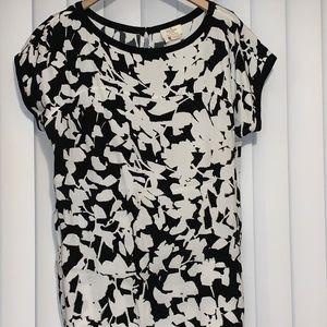 Kate Spade Live Colorfully Black White Blouse